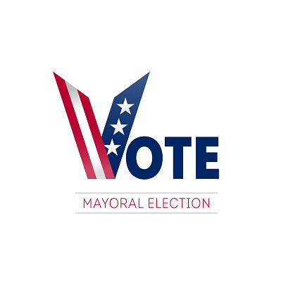 Banner design for mayoral election day in US. Voting in USA. Design template of poster, flyer or sticker for Political election campaign. Vector.