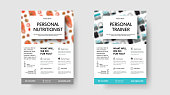 Banner design on a white background, the theme of sports and nutrition, for advertising in stories. Flyer template for presentation of a personal trainer and nutritionist.Healthy Life Planning Booklet