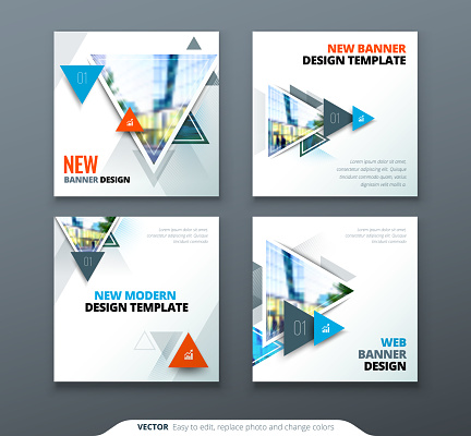 Banner design. Square abstract vector banner with triangle shapes for web template.