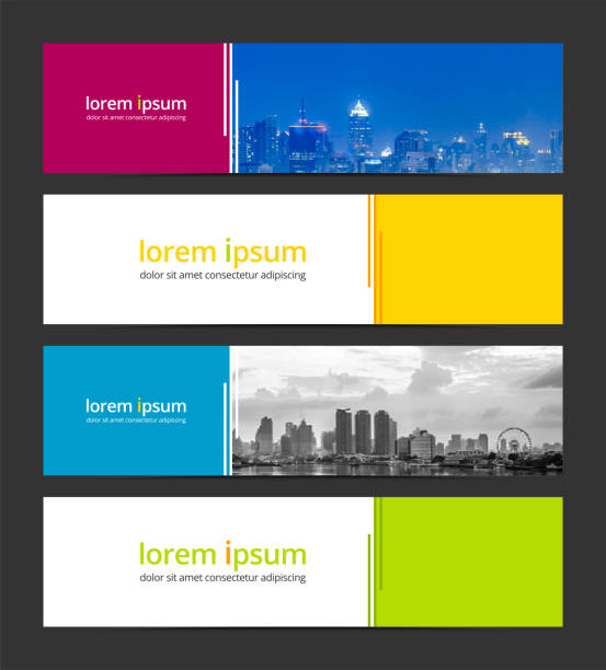 banner design template abstract background geometric vector. corporate business banner advertising set. infographic design elements. - banner ads templates stock illustrations