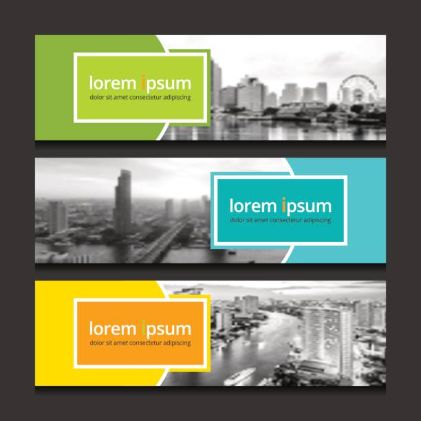 banner design template background vector. corporate business banners advertising set. - banner ads templates stock illustrations