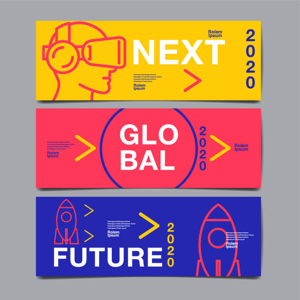 ilustrações, clipart, desenhos animados e ícones de banner modelo de design, futuro, infográfico, gráfico, flat, vetor. - templates de logotipo
