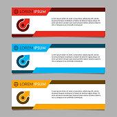 Banner design template set. Modern horizontal business background layout or header. Vector illustration.