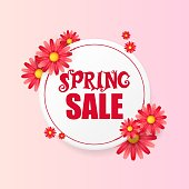 Banner design template with floral decoration for spring sale. Round frame with flowers. Invitation for sale discount vector illustration.