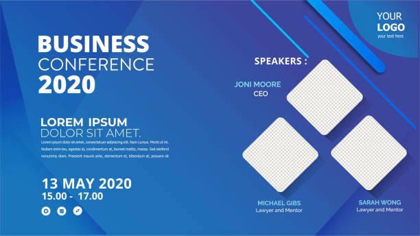 Banner design with blue geometric background.vector illustration can be adapt for template presentation, cover, poster, layout, brochure banner ads templates stock illustrations