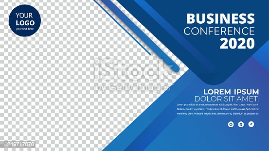 istock Banner design with blue geometric background.vector illustration 1249717076