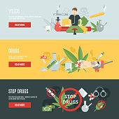 Drugs horizontal banner set with flat addiction elements isolated vector illustration