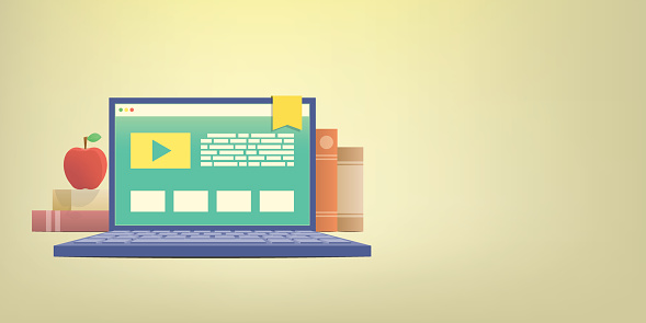 Banner e-learning with laptop, learning through an online network. with many book background illustration vector. Education concept.