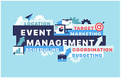 Banner event management concept vector illustration with icons. Can be used for web design, presentation, printed design, banner