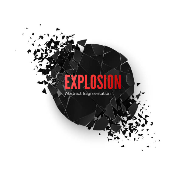 Banner Explosion  Simulation. Explode and destruction. Circle shatter effect. Vector illustration isolated on whide background Banner Explosion  Simulation. Explode and destruction. Circle shatter effect. Vector illustration isolated on whide background demolished stock illustrations