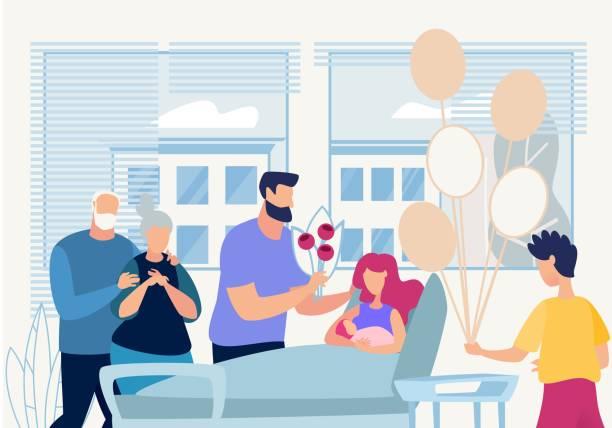 バナーファミリーは病院で出産を祝う。 - 新生児点のイラスト素材/クリップアート素材/マンガ素材/アイコン素材