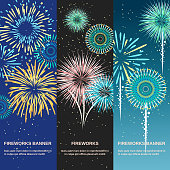 Festive firework abstract vertical banners template set designed for party or anniversary invitation flat vector illustration