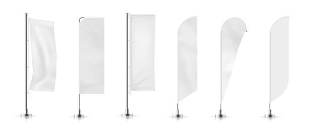 banner flag Vector set of  different types white waving advertisement  banner flag.  Vector mock-up. vertical stock illustrations