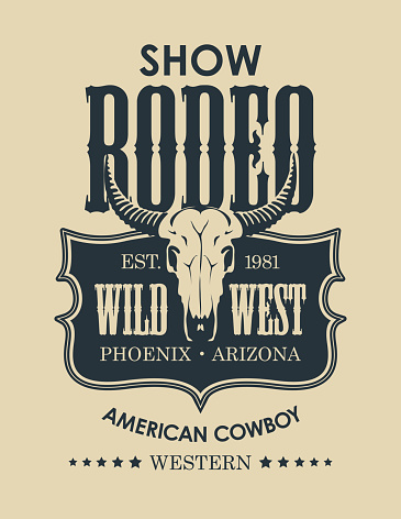banner for a cowboy Rodeo show with a bull skull