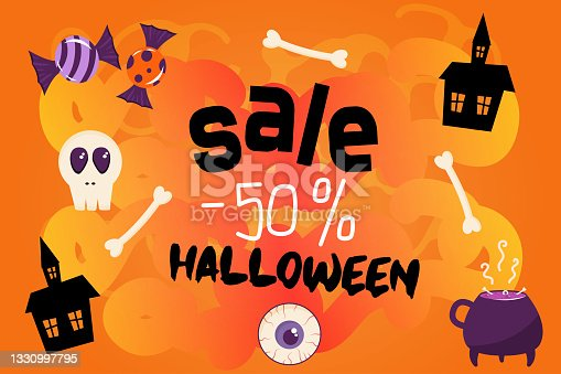 istock Banner for a Halloween sale. Orange background with inscription sale 50 percent. The decor of the template is made of cobwebs, bones, sweets, chrepa. Attractive cartoon-style cover. 1330997795