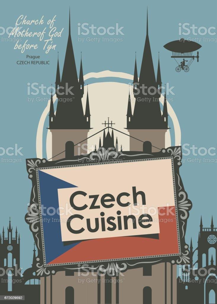 Banner Fur Eine Restaurant Tschechische Kuche Mit Flagge Stock