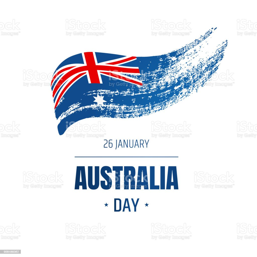フラグとテキストを含むオーストラリアのナショナルデーのバナーです。手描きのイラスト。 ベクターアートイラスト