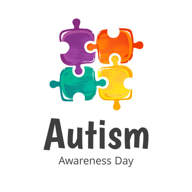 Banner for Autism Awareness Day. Illustration on white background. Puzzle composition. vector art illustration