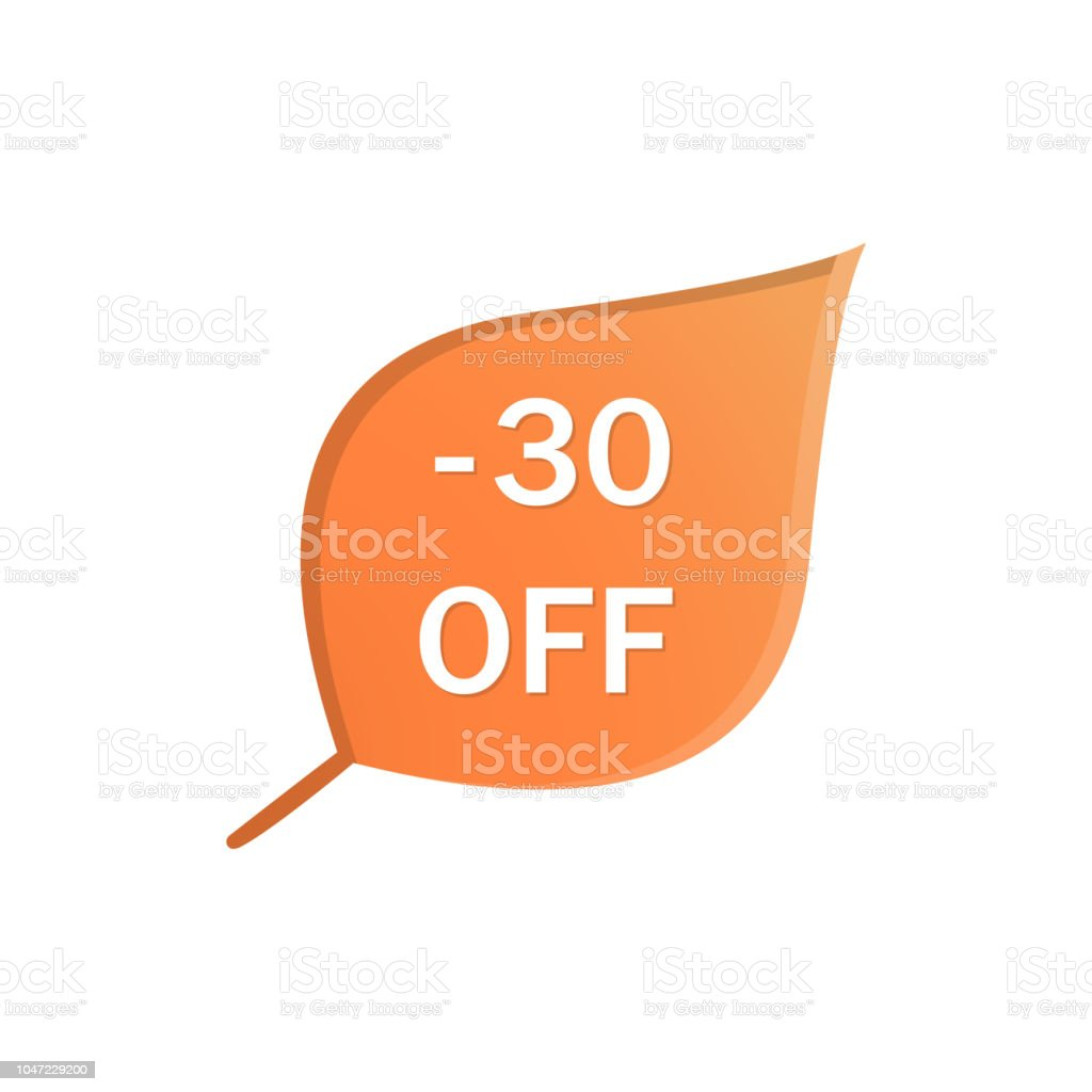 Banner for Autumn sale with colorful seasonal fall leaves. Vector icon