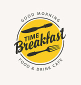 Vector banner on the theme of Breakfast time with fork and knife on the background of yellow circle with text in retro style