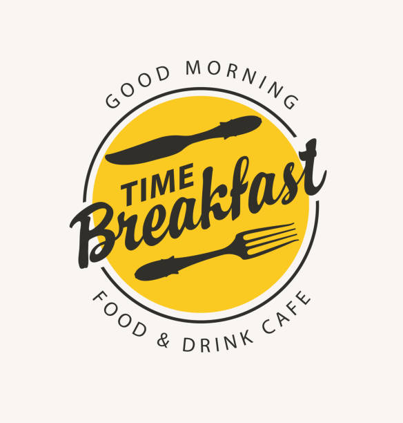 banner for breakfast time with fork and knife - ресторан stock illustrations