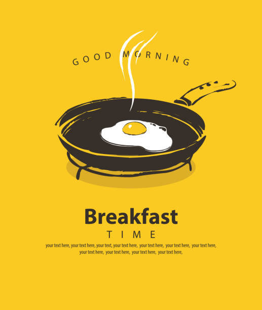 ilustraciones, imágenes clip art, dibujos animados e iconos de stock de banner para el desayuno con huevo frito en sartén - desayuno