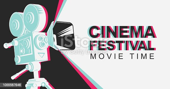 Cinema festival poster with old fashioned movie projector. Vintage movie camera with light. Vector background with words Movie time. Can be used for flyer, banner, poster, web page, background