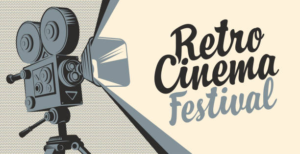 banner for cinema festival with old movie camera Vector poster for retro cinema festival with old fashioned movie projector or camera. Movie background with calligraphic inscription. Can be used for flyer, banner, poster, web page, background premiere event stock illustrations
