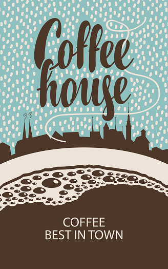banner for coffee house with cup and old town