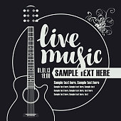 Vector music poster for festival or concert of live music with guitar and place for text on the black background