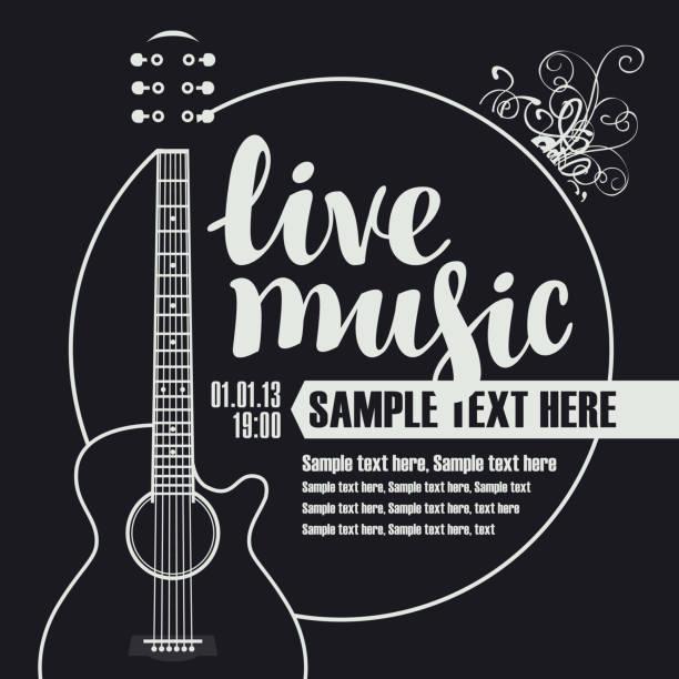 stockillustraties, clipart, cartoons en iconen met banner voor concert van live muziek met gitaar - gitaar