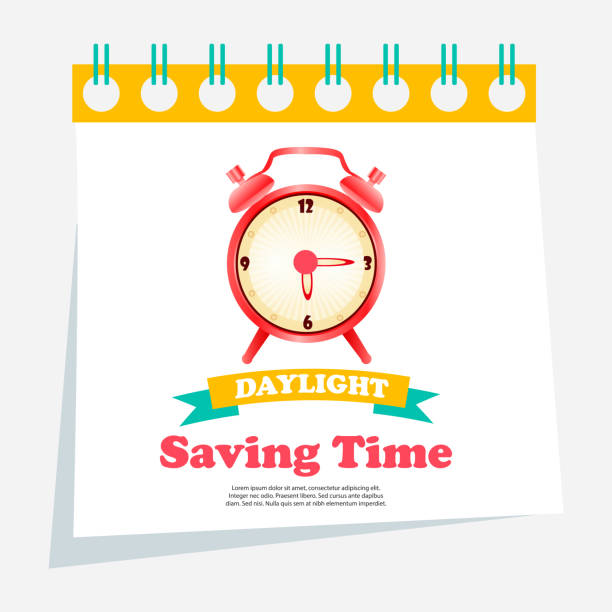 banner for daylight saving time with alarm clock - daylight savings time stock illustrations, clip art, cartoons, & icons