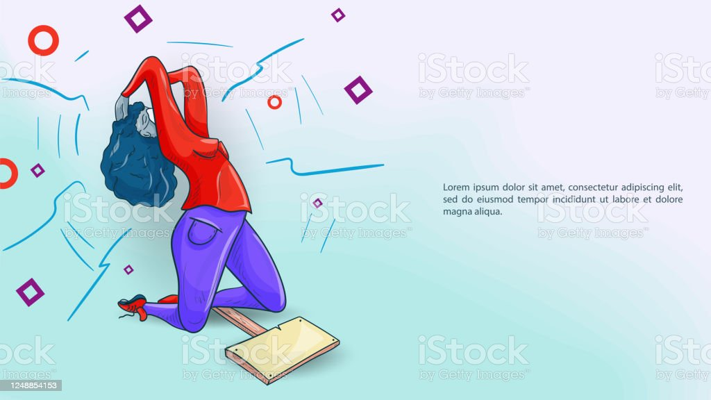 Banner For Design Social Issues Racism A Girl With A Poster I Cant Breathe Is On Her Knees And Holding Her Head With Her Hands Stock Illustration Download Image Now Istock