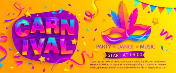 ilustraciones, imágenes clip art, dibujos animados e iconos de stock de banner para la fiesta de carnaval divertido, máscara con plumas. - carnaval