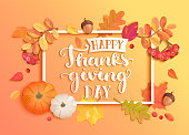 Banner for happy thanksgiving day with frame and seasonal fall leaves, rowan, pumpkin, acorn for nice holiday. Perfect for prints, flyers, invitations, greetings. Top view. Vector illustration