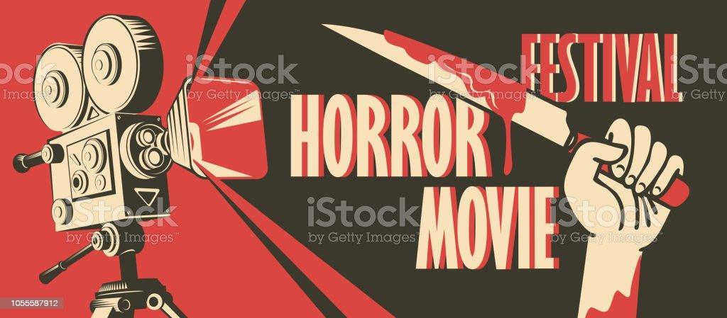 banner for horror movie festival, scary cinema royalty-free banner for horror movie festival scary cinema stock illustration - download image now