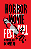Vector banner for festival horror movie. A bloody chainsaw and blood spatter. Scary movie promotional print. Can be used for advertising, banner, flyer, ticket, web design, t-shirt design