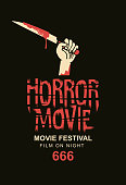 Vector banner or poster for horror movie festival with a severed hand holding a bloody knife on the black background. Scary cinema. Horror film night. Suitable for tickets, flyer, banner, web design