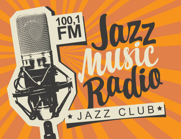 banner for jazz music radio with studio microphone Vector banner for radio station with studio microphone and inscription Jazz music radio on the abstract background with rays. Radio broadcasting concept. Suitable for flyer, ad, poster, placard radio stock illustrations