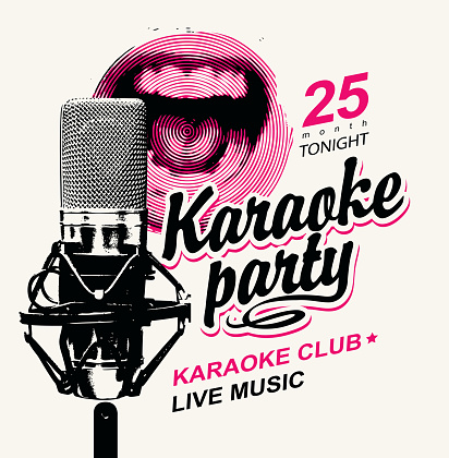 banner for karaoke party with a singing mouth