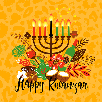 Banner for Kwanzaa with traditional candles representing the Seven Principles or Nguzo Saba. Lettering Happy Kwanzaa. Vector greeting card on leopard background.