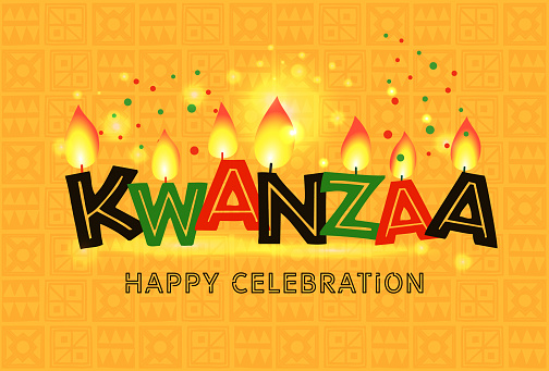 Banner for Kwanzaa with traditional colored and candles on yellow background representing the Seven Principles or Nguzo Saba .