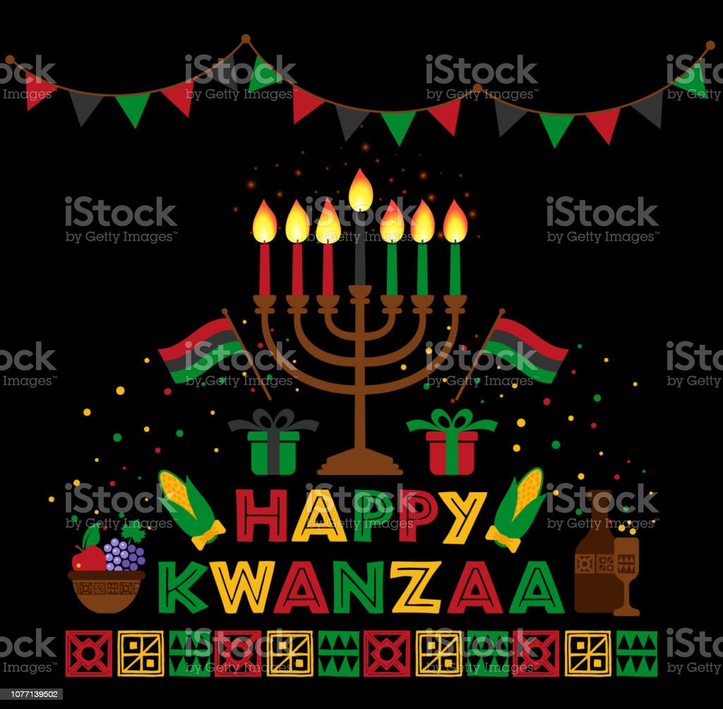 Banner for Kwanzaa with traditional colored and candles representing the Seven Principles or Nguzo Saba . vector art illustration