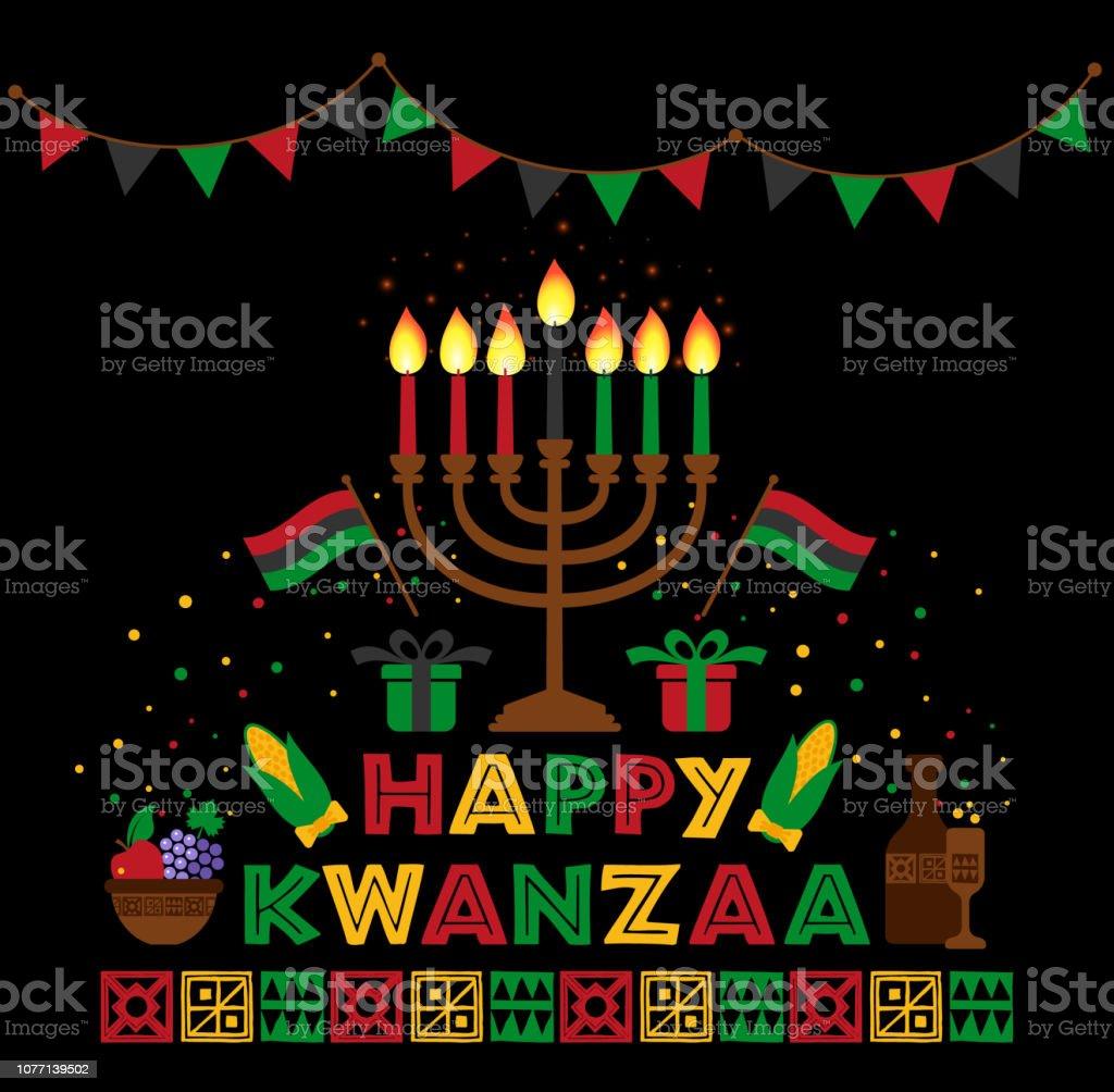 Banner para Kwanzaa com cores tradicionais e velas representando os sete princípios ou Nguzo Saba. - ilustração de arte em vetor