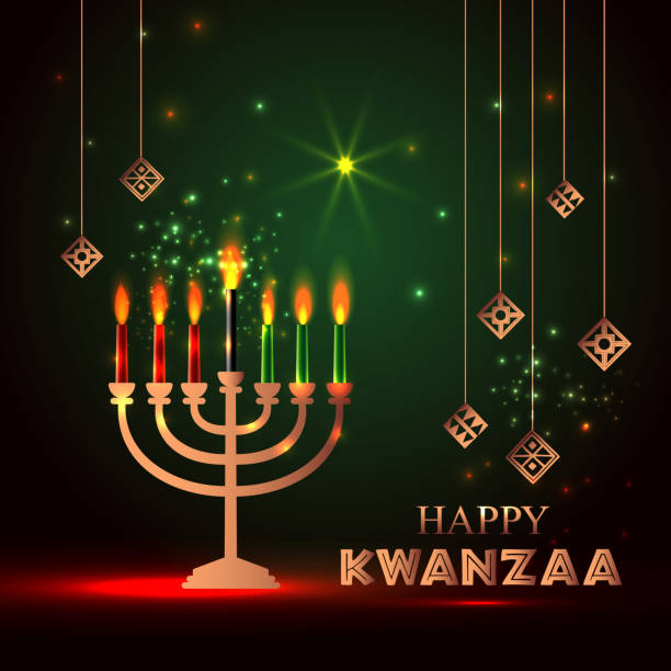 banner for kwanzaa with traditional colored and candles representing the seven principles or nguzo saba . - kwanzaa stock illustrations