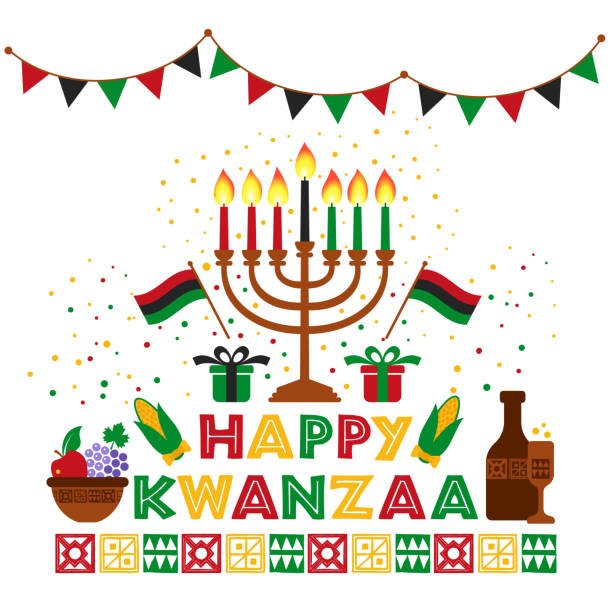 Banner for Kwanzaa with traditional colored and candles representing the Seven Principles or Nguzo Saba . Banner for Kwanzaa with traditional colored and candles. kwanzaa stock illustrations