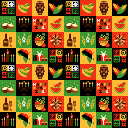 Banner for Kwanzaa with traditional colored and candles representing the Seven Principles or Nguzo Saba. Collgage style.