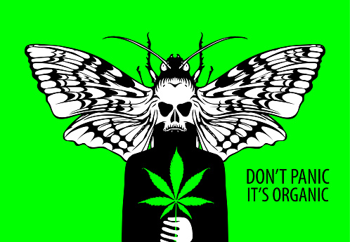 banner for legalize cannabis with fictional person