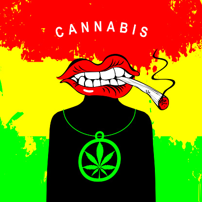 banner for legalize marijuana with a Smoking mouth
