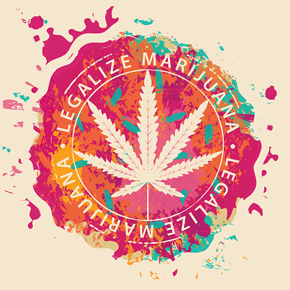 banner for legalize marijuana with cannabis leaf